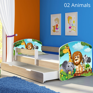 Krevet s bočnom stranicom i ladicom sonoma 140x70, motiv: 02 Animals