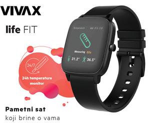 Vivax LifeFIT, pametni sat, praćenje temperature tijela 24/7, Crni