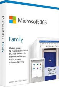Microsoft 365 Family AllLng Sub PK Lic 1YROnline Eurozone C2R NR, 6GQ-00092