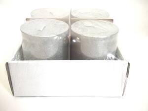 Svijeća metalik 6x8cm. 4kom - srebrna