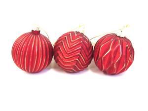 Dekorirane staklene kuglice 8cm/3kom - crvena s detaljima
