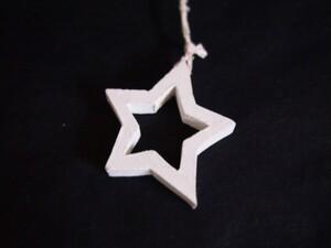 Ukras drveni - zvijezda bijela - 8.5cm