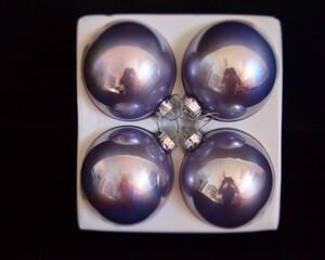 Staklene kuglice pearl efekt 8cm 4kom sive