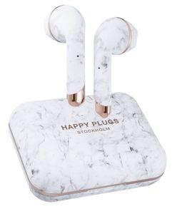 Happy Plugs, Air1 Plus, Earbud bežične slušalice, bijelo mramorne