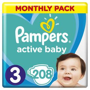 Pampers Active Baby mjesečno pakiranje S3 208 kom