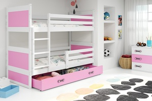 Drveni dječji krevet na kat Rico s ladicom 190*80 cm - bijeli - roza*Rasprodaja_TPNJ