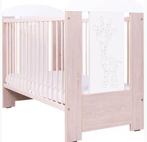 Komplet dječji krevetić Drewex žirafa + madrac + AP posteljina 3-djelna plavo srce