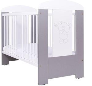 Komplet dječji krevetić Drewex medo s leptirom + madrac + AP posteljina 3-djelna plavo srce