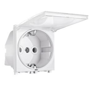 ALING CONEL modularna šuko utičnica dvopolna 16A 250V~ EXP 2M s poklopcem , bijela