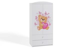 Dječji ormar - medvjed s leptirima - bijeli