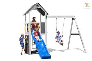 Fungoo drveno dječje igralište CAROL 2 sivo - bijeli set