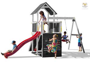 Fungoo drveno dječje igralište CAROL 3 sivo - bijeli set