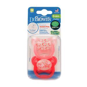 Dr.Brown's ® PreVent leptir dude - protiv križnog zagriza, RAZ 1 - 0-6mj, 2 kom, svijetle u mraku, Roza