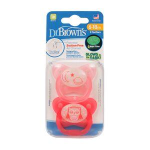 Dr.Brown's ® PreVent leptir dude - protiv križnog zagriza, RAZ 2 - 6-18 mj, 2 kom, svijetle u mraku, Roza