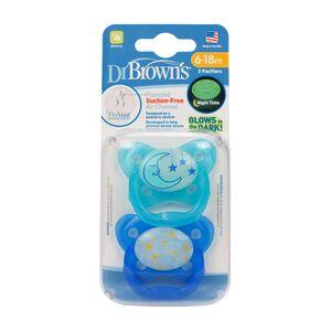 Dr.Brown's ® PreVent leptir dude - protiv križnog zagriza, RAZ 2 - 6-18mj, 2 kom, svijetle u mraku, Plava