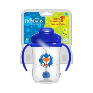 Dr.Brown's trening čaša s slamkom / ručkice 270 ml / PLAVA