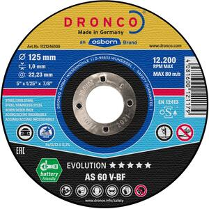 DRONCO rezna ploča 125x1 inox evolution AS60V 25 komada