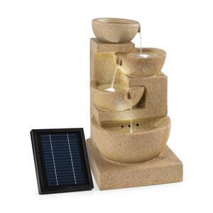 BLUMFELDT Korinth, ukrasna fontana, vrtna fontana, solarni 3 W panel, LED, pješčenjak izgled