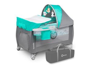 Lionelo dječji prijenosni krevetić Sven PLUS siva-tirkiz
