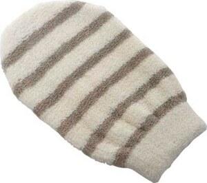 TENDANCE rukavica za kupanje pamuk bambus, sivo smeđa prugasta