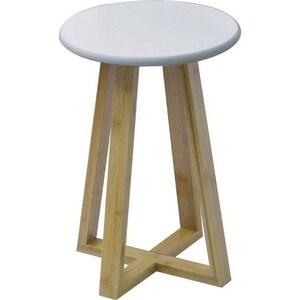 TENDANCE stolica mdf sa nogama od bambusa, bijela