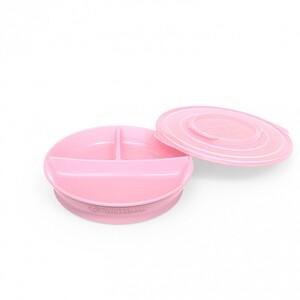 Twistshake podjeljeni tanjurić 6+m Pastel Pink