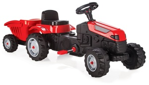 Pilsan traktor na pedale s prikolicom - Crveni