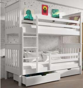 Drveni dječji krevet na kat Bruno s ladicom - bijeli - 200*90