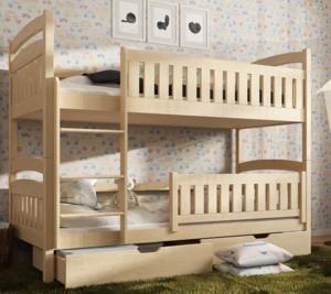 Drveni dječji krevet na kat Ignas s ladicom - svijetlo drvo - 180*80