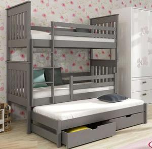 Drveni dječji krevet na kat Jarek s tri kreveta i ladicom - sivi - 180*80
