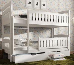 Drveni dječji krevet na kat Ignas s ladicom - bijeli - 180*80