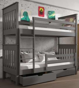 Drveni dječji krevet na kat Bruno s ladicom - sivi - 200*90