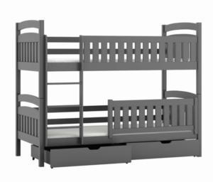 Drveni dječji krevet na kat Ignas s ladicom - sivi - 180*80