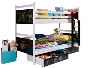 Drveni dječji krevet na kat Fun s ladicom i s mogućnošću crtanja - 200*90