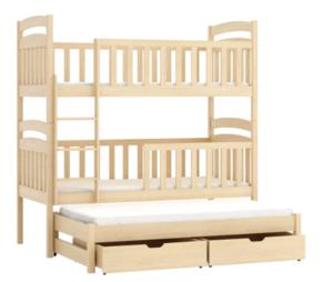 Drveni dječji krevet na kat Anatol s tri kreveta i ladicom - svijetlo drvo - 180*80