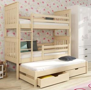 Drveni dječji krevet na kat Jarek s tri kreveta i ladicom - svijetlo drvo - 200*90