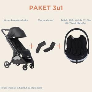 Ergobaby Metro+ 3u1 paket kompaktna gradska kolica crna + BeSafe iZi Go Modular X1 i-Size autosjedalica
