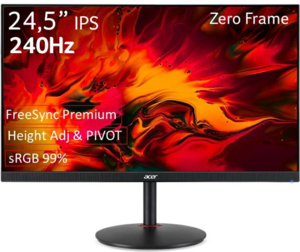 Acer monitor Nitro XV252QZbmiiprx, IPS, 280Hz, 1ms, DP, HDMIx2, Pivot