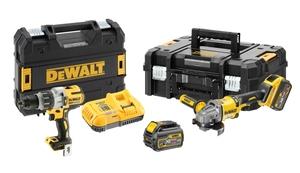 DEWALT aku set udarna bušilica/odvijač DCD996 + akumulatorska Flexvolt kutna brusilica 2x 54V 6.0 Ah DCG414 + punjač + 2 TSTAK kofera