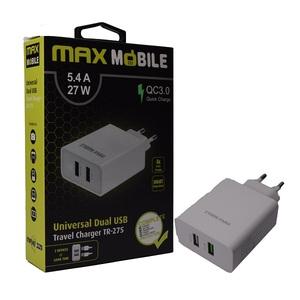 MM strujni punjač QC 3.0, brzo punjenje, dual USB, 5.4A, 27W, bijeli