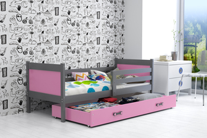 Drveni dječji krevet Rino - sivi-rozi - 190x80 cm