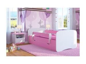 Drveni dječji krevet Perfetto s ladicom - rozi - 180x80 cm
