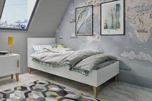 Dječji drveni krevet KUBI - bijeli - 180x80 cm
