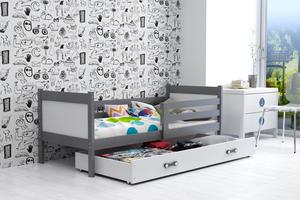 Drveni dječji krevet Rino - sivi-bijeli - 190x80 cm