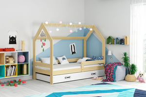 Drveni dječji krevet House s ladicom - 160x80 cm - boja bukve
