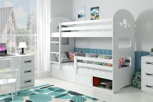 Drveni dječji krevet na kat Dominik s kliznom ladicom - bijeli - 190x80 cm