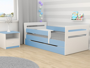 Drveni dječji krevet Tomi s ladicom - plavi - 180x80 cm