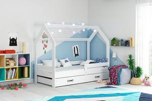 Drveni dječji krevet House s ladicom - 160x80 cm - bijeli