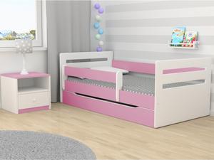 Drveni dječji krevet Tomi s ladicom - rozi - 180x80 cm