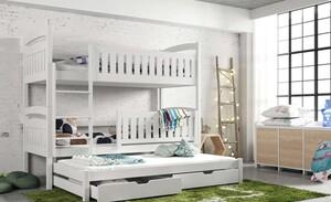 Drveni dječji krevet na kat Blanka s tri kreveta i ladicom - bijeli - 190x90 cm